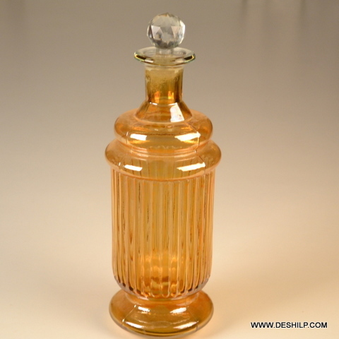 Yellow Color Glass Decor Decanter