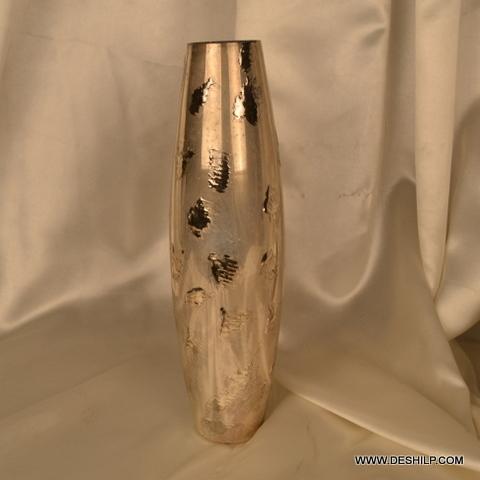 Long Silver Glass Flower Vase