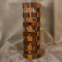 Glass And Wooden Decorative Flower Vase