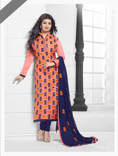 Chanderi Embroidered Dress Material