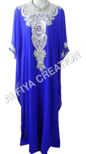 Heavy crystal work fancy royal blue farasha kaftan