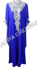 Heavy crystal work fancy royal blue farasha kaftan