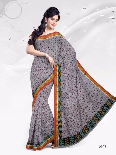 Cotton Printed Resum Border Sarees Wholesale