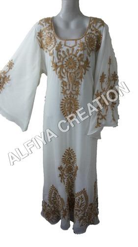 White Wedding Wear Thread Work Farasha Kaftan