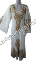 White Wedding Wear Thread Work Farasha Kaftan