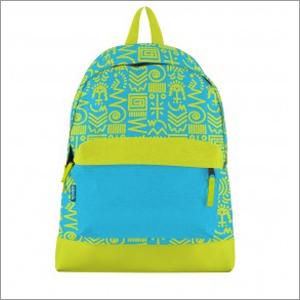 Aztec Print Canvas Bookbag Lime Blue