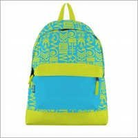 Aztec Print Canvas Bookbag Lime Blue