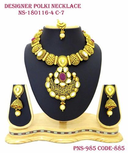 Polki Antique Necklace with Kundan