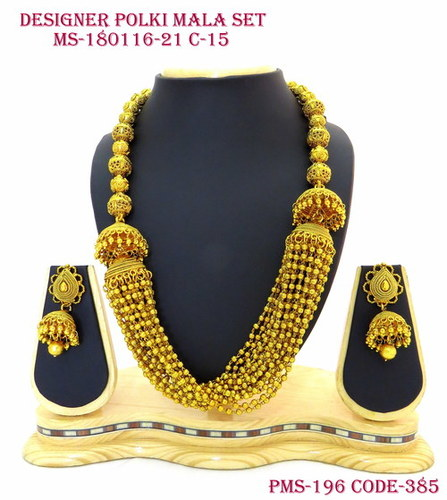 Designer Polki Golden Mala Set