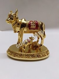 Gold Plated Cow Statue