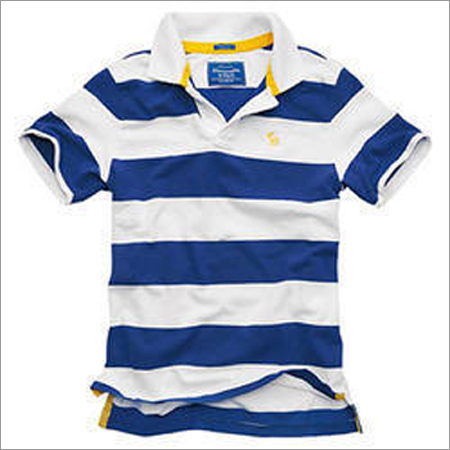 Mens Polo Collar Stripped T-Shirt