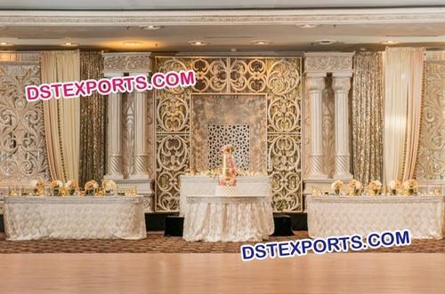 Roman Pillar Wedding Reception Stage Setup