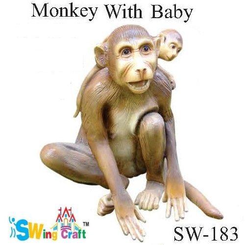 Fibre Garden Monkey With Baby