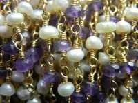 Pearl With Amethyst Beaded Chain