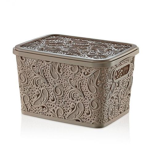 Floria Lace Storage Box W/H Lid ( 10lt)