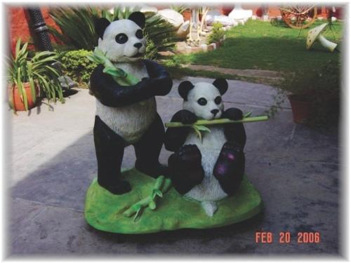 Fibre Panda Pair with Bamboo