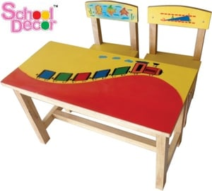 Train Rubber Wood Table Chair Set