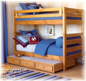 Rubber Wood Bunk Bed
