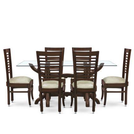 Elio Six Seater Dining Set Walnut