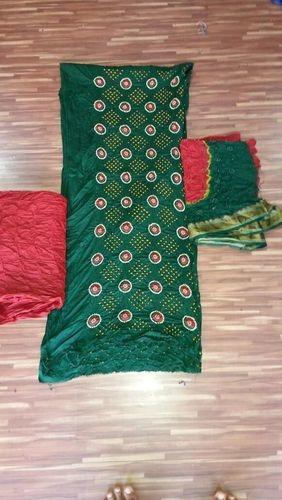 Cotton Satin Rai Bandhej Dress Materials
