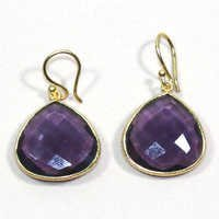 Amethyst Pear 925 Sterling Sliver Earring Jewelry