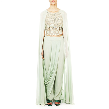 Embroidered Cape Dress With Drape Pant
