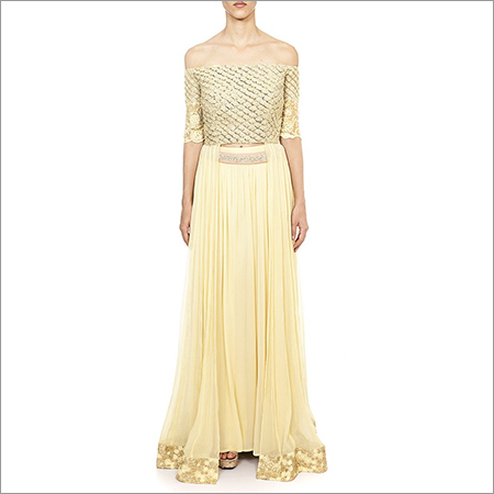 Embroidered Cape Dress With Palazzo