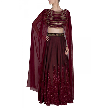 Kali Lehenga With Attached Dupatta Blouse
