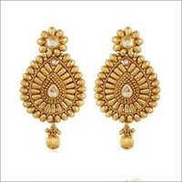 Copper Antique Floral Kundan Dangling Earrings