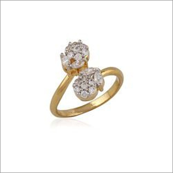 Gold Floral American Diamond Finger Ring