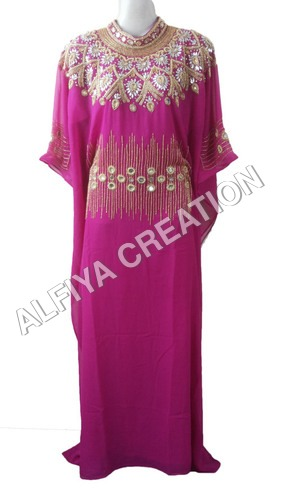 Gorgeous Hot Pink Gold Work Farasha Kaftan