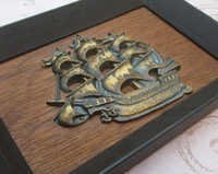 Pirate Ship, 1960s, Vintage Brass Wall Decor