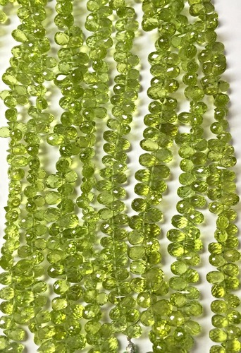 Faceted Peridot Teardrop Beads