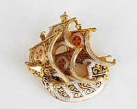 Damescene Ship Brooch