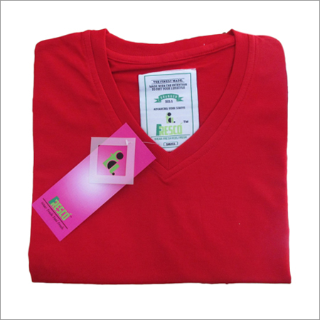 Red V Neck Plain T-Shirts