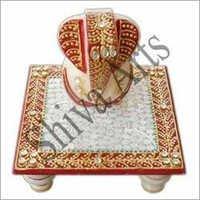 Sculptured Marble Ganesh Chowki