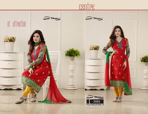 NANDANEE 3 Cotton Embroidery Suits