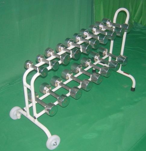 DUMBBELLS SET (Chrome Plated, 54kg. Set With Cart)