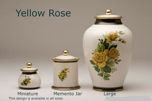 Pottery Ashes Urn - Yellow Roses