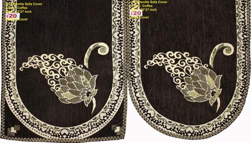 Chenille Designer Leaf Sofa Cover