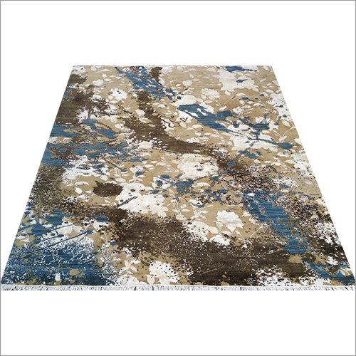 Brown and Blue Hand Knotted Contemporary Col