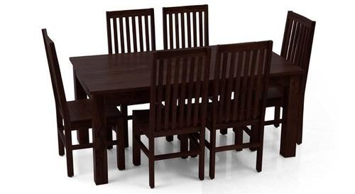 Wooden Dining Set with Dark Polish