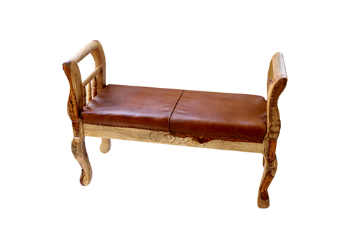 Leather 2 Seater Bench