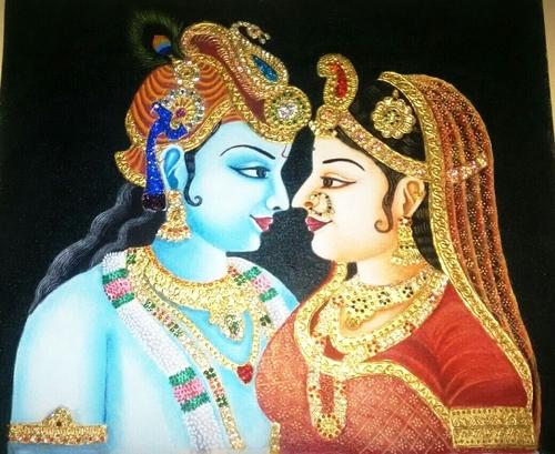 Krishna Rukmani Painting