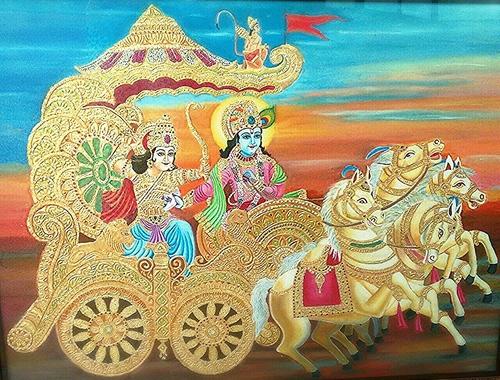 Arjun Krishna Gold Painting