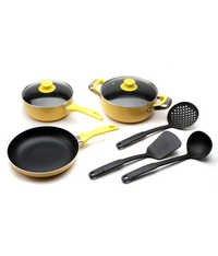 Polo lifetime Non Stick Cookware Set of 8 Pcs (Yellow)