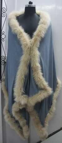 Glamour Style Silk Pashmina Fur Shawl