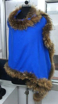Silk Pashmina Shawls with fox fur