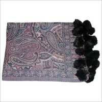 Paiseley Designer Shawl With Fur Balls