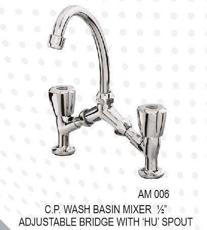 "C.P.WASHBASIN MIXER 1/2""ADJUSTABLE BRIDGE HU SPOUT"